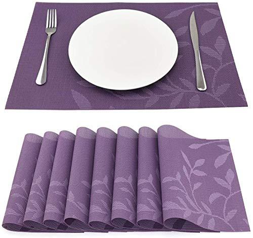 WUCHENG Sueh Design Set von 8 Woven Vinyl Lila Blätter Tischset 45 * 30cm tischset (Color : 13 Purple Leaves)