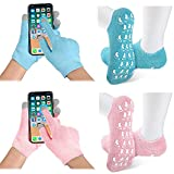 4 Pairs Touch Screen Spa Glove and Sock Sets, Include Touch Screen Spa Moisturizing Glove, Moisturizing Feet Socks for Women Soften Repairing Dry Hands Feet Skin, Blue and Pink