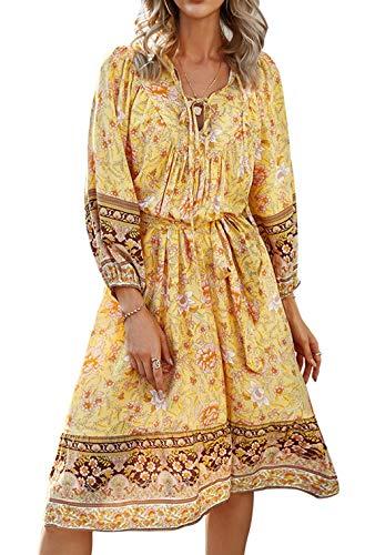 ZIYYOOHY Damen Kleid Blumen Muster Langarm Frühling Sommer Oberteile (Gelb-008, S)