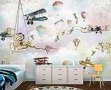 Pink Hot Air Balloon Cherry Blossom Vintage Airplane Cloud Creative Series Personalizar papel tapiz 3D Impresión de arte Pintura de pared Hd Pri Papel tapiz 3D Pegar la pared para mural de dormitorio