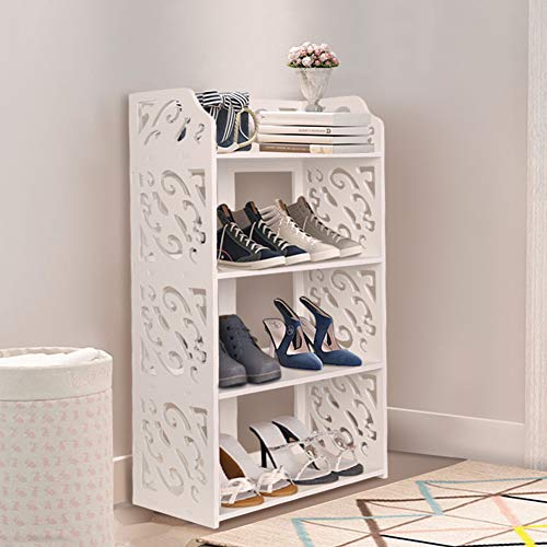 GREENSEN 4 Tiers Freestanding Shoe Rack Waterproof Bathroom Shelf Small Bookcase Modern Carved Shoe Cabinet Waterproof Home Storage Shelf Display Rack for Living Room Hallway Entryway, 40 × 23 × 71 cm