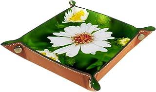 Vockgeng Fleurs Blanches et Feuilles Vertes Boîte de Rangement Panier Organisateur de Bureau Plateau décoratif approprié p...