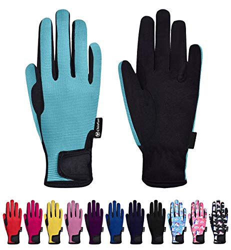 ChinFun Kids Horse Riding Gloves Child Winter Gloves Cycling Gloves Windproof Warm Gloves Perfect for Cycling Riding Running Skiing and Winter Outdoor Activities Sky Blue Size M 8-10