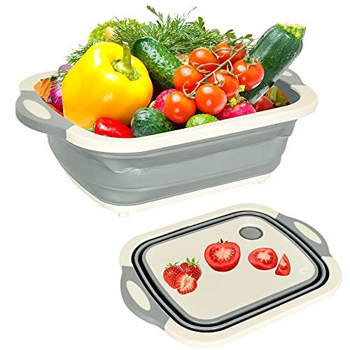 Cesta de drenaje plegable multifunción para tabla de cortar, cesta de drenaje plegable, tabla de cortar, frutas, verduras, lavado y drenaje para fregadero (gris)