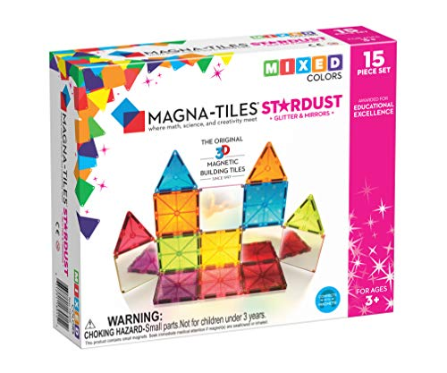 Magna-Tiles Stardust Set, The Original, Award-Winning Magnetic Building Tiles, Creativity & Educational, Stem Approved, Glitter & Mirrors