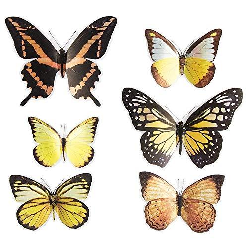 Ideen mit Herz Pop-Up Sticker 3D-Schmetterlinge | 6 Stück auf Bogen | Bogengröße: 19x21cm | Aufkleber, Abziehbilder | ideal für Scrapbooking, Wand-Deko, sonstige Dekorationen (Kupfer & Gelbtöne)