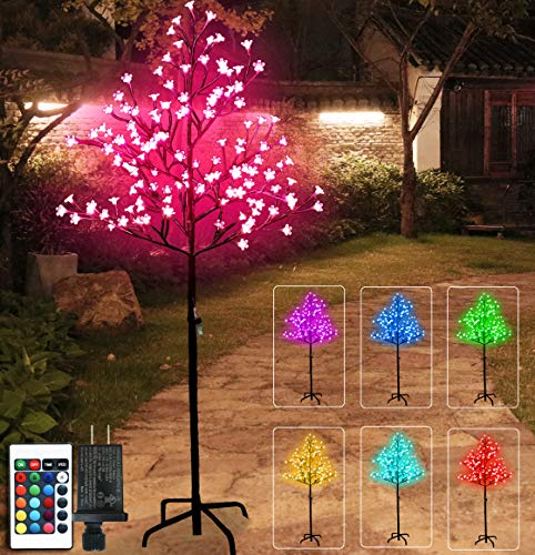 128 LED Cherry Blossom Lighted Tree Color Changing, Artificial Flower Bonsai Tree Lamp with Multicolor Remote Control 5 Feet Lit Tree Centerpieces for Christmas, Valentines Day Decor -4.9ft(RGB)