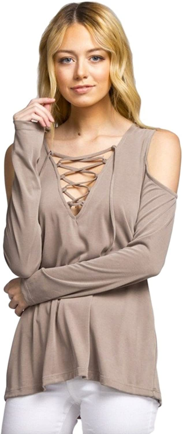 Cherish Women's Long Sleeve Top with LaceUp Neckline and Cold Shoulders