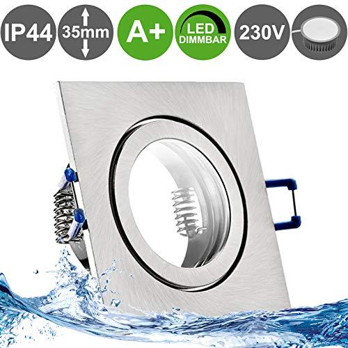 MARE IP44 5er Set LED Bad Einbaustrahler 5W dimmbar extra flach 230V Decken Spot EDELSTAHL OPTIK gebürstet eckig Warm-Weiß (3000k) nur 35 mm Einbautiefe für Bad, Feuchtraum + außen