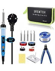 Soldeerbout Set met LCD-Display, SRMTCH 80W Digitale Professionele Soldeerbout Set met Instelbare Temperatuur 200~450 ℃, AAN/UIT-Schakelaar, 5 Stuks Soldeerbout Punten, Soldeerdraden