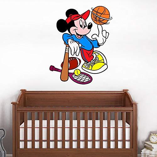 Stickers muraux Mickey Mouse Happy Disney Decal Mickey Mouse jouer au volleyball Mickey Mouse Stickers Disney vinyle autocollant pour chambre d'enfants
