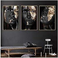 現代アフリカの黒と金の女性HD油絵キャンバス壁アートポスター壁の写真に印刷フレームなし