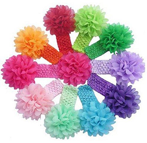 Maolanku 10 Pezzi Babys delle fasce del fiore delle ragazze chiffon fascia
