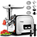 Powerful ALTRA Electric Food Meat Grinder, Heavy Duty Multifunction Meat Mincer Sausage Stuffer with Sausage Tube & Kubbe Maker, 2 Stainless Steel Blades, 3 Sizes Plates, Concealed Storage Box Design (Renewed)