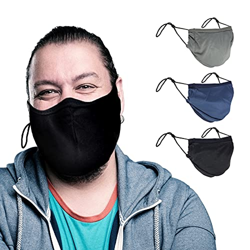 3 Pack Community Face Masks Unisex Cloth Mask Breathable, Reusable Black Cotton Face Mask with Adjustable Ear Loops