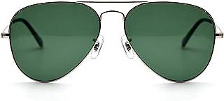 نظارات شمسية من LOTSON Classic Aviator Crystal Lens للنساء والرجال بإطار معدني 100% حماية من الأشعة فوق البنفسجية