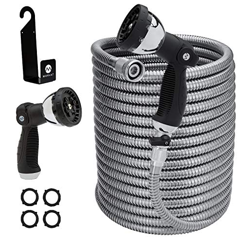 Morvat 150 Foot Stainless Steel Garden Hose with Shut-Off Valve, Heavy Duty Metal Water Hose, Resistant to Tangles and Punctures, Garden Hose 150 FT Includes: Hose Spray Nozzle + Metal Hose Hanger