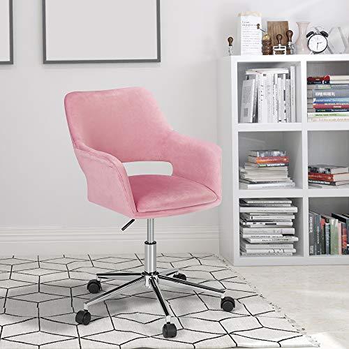 HOMHUM Velvet Pink Desk Chair for Home Office, Morden Desk Chair w/Arm and Upholstered Seat, Cute Height Adjustable Task Swivel Chair, Silver Base