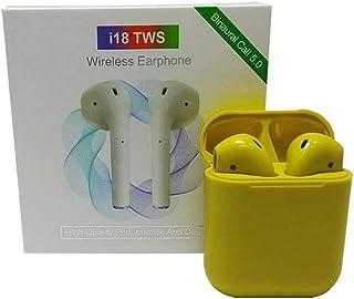 i18 TWS Pop-up Mini Wireless Earbuds Headphone Wireless Earphone Headset - Yellow
