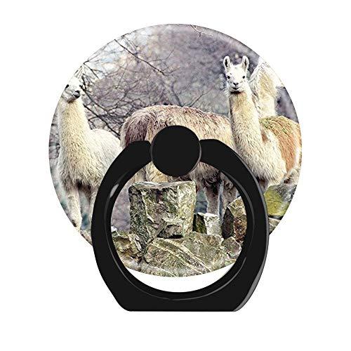 NSNNS Dehnbare Griffbuchse für Handy, 360 drehbar, Faltbarer Griff und Ständer für Handys und Tablets (kreisförmig, schwarz) Schnittmuster Lama Alpaca