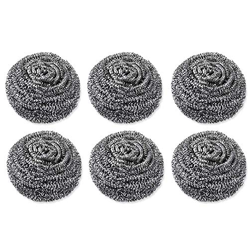 Limeow Large Stainless Steel Scrubbers Stainless Steel Durable Scourer Metal Scourer Helps Remove Dirt for Cleaning Pots Pans and Washing Dishes Scourer Kitchen Cleaning Tool 6 Pack