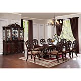 HEFX Dublin 9 Piece 86-114 inch Dining Set in Warm Cherry - Table, 2 Arm, 8 Chairs
