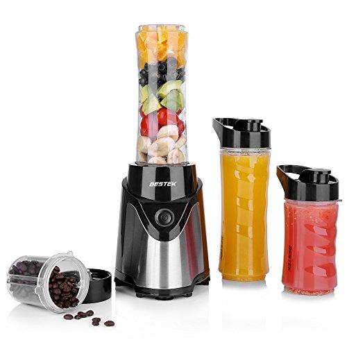 BESTEK Batidora de Vaso 300W, Batidora Portátil para Fruta, Verdura y Hielo (Libres de BPA), 3...