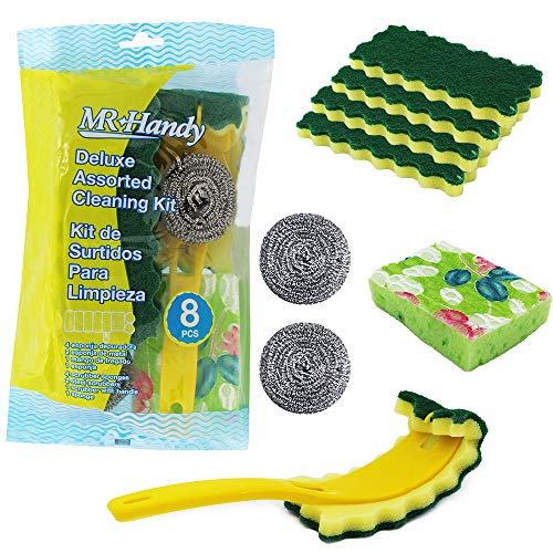 COOKING DETAILS Dish Scrubber Dish Sponge Set - 4 Scrubber SPONGES, 2 Steel SCRUBBERS, 1 Scrubber with Wand and 1 Sponge Perfect for Kitchen Washing Dishes