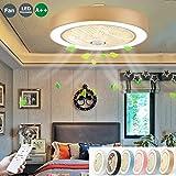 Ventilateur De Plafond Avec Éclairage LED Plafonnier Lampe Ronde Creative Ultra...