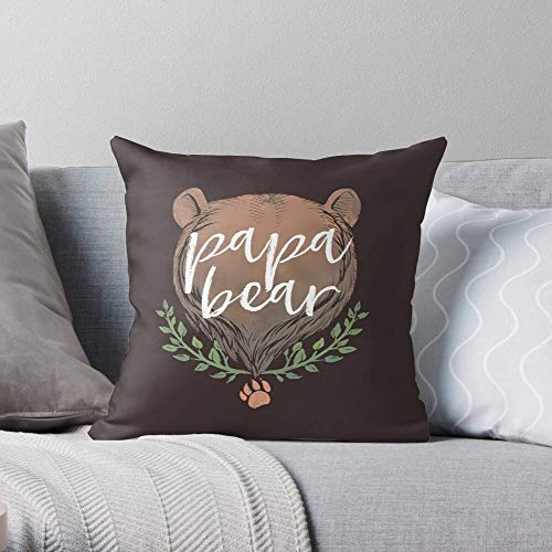 XCNGG Papa Thanksgiving Christmas Day Dad Poppa Fathers Daddy Bear Father - Pillow Case Cotton Polyester - Indoor Decorative Pillow Square Cushion Cover for Bedroom Sofa Living Room
