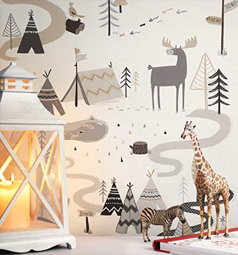 NEWROOM Kindertapete Grau Tiere Giraffe Kinder Papiertapete Beige,Creme,Grau,Hellbraun Papier Kindertapete Kinderzimmer Babytapete Babyzimmer Krokodil Niedlich