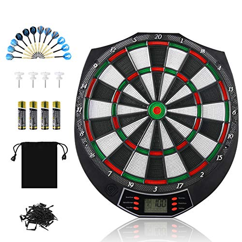 meicent Electronic Dart Board Set Indoor Outdoor Dart Board Game Set with 12 Darts 120 Dart Tips LCD Display 18 Modes 159 Ways of Playing Dartboard Family Party Leisure Sports Games Gifts