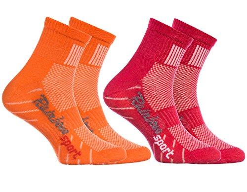Rainbow Socks - Niño Niña Calcetines Deporte Colores Algodón - 2 Pares - Naranja Rojo - Talla 30-35