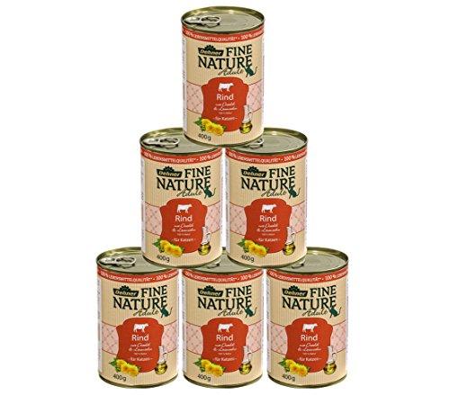 Dehner Fine Nature Katzenfutter Adult, Lebensmittelqualität, Rind, 6 x 400 g (2,4 kg)
