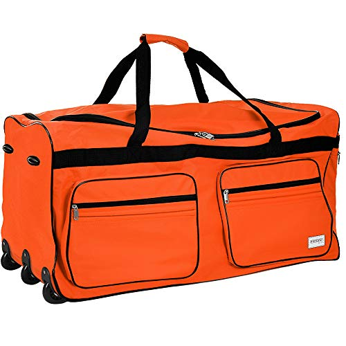 Deuba Travel Duffel Bag 160Liter Red Wheeled Luggage Castors Gym Sport Camping Large Lightweight Telescopic Handle (Orange)