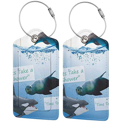 WINCAN Etiquetas para Equipaje,Marítima Permite Tomar una Ducha Imprimir,2 Piezas Etiquetas de Equipaje de Viaje Etiquetas de Identificación de la Maleta para Maletas,Mochila