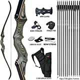 D&Q Archery Recurve Bow and Arrow 60'' Takedown Bow for Adults Wooden Riser Right Hand Hunting Survival Bow 20-60lbs Archery Set with 12pcs Fiberglass Arrows (50lbs)