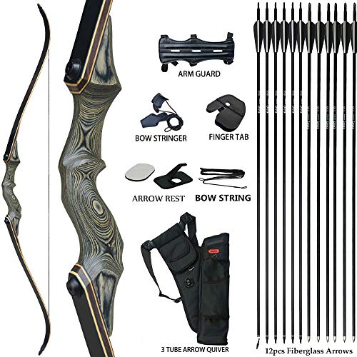 D&Q 60'' Archery Recurve Bow Takedown Bow Hunting Bow and Arrow Set Adult Target...