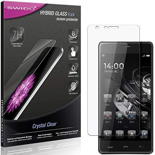 SWIDO Panzerglas Schutzfolie kompatibel mit Homtom HT5 Bildschirmschutz-Folie & Glas = biegsames HYBRIDGLAS, splitterfrei, Anti-Fingerprint KLAR - HD-Clear