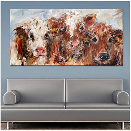 NIESHUIJING Druck auf Leinwand Abstrakte Malerei Tierplakate Drucke Bunte Kuh Leinwand Malerei Moderne dekorative Bilder 27,5