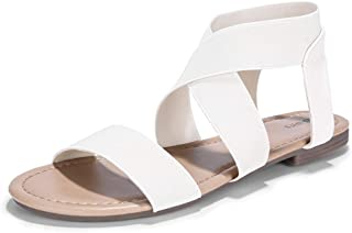 Women's Elastic Flat Sandals Criss-Cross Open Toe Ankle Strap Summer Shoes