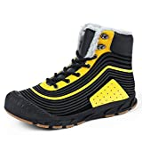 FOGUO Snow Boots Mens Womens,Ladies Winter Boots,Waterproof Anti-Slip Outdoor Shoes for Hiking Trekking Walking Climbing, Shooting,Mucker Yard Boots,Biker,Yellow-39