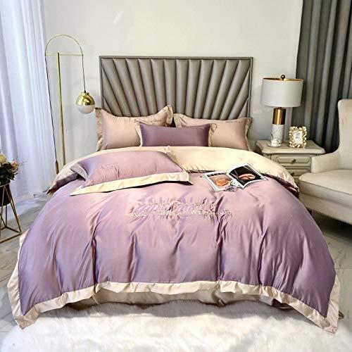 Cubierta de la colcha de seda de hielo de verano de estilo nórdico, ropa de cama super suave - hipoalergénica - resistente a las manchas de arrugas y manchas - hojas - 4 piezas-Volar_1,8 m de cama (4