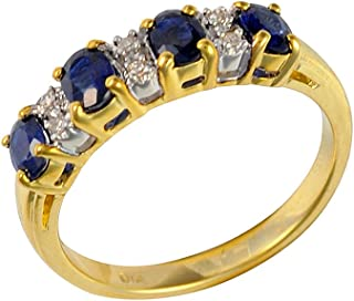 b23c70a47 Ivy Gems 9ct Yellow Gold Blue Sapphire and Diamond Half Eternity Ring