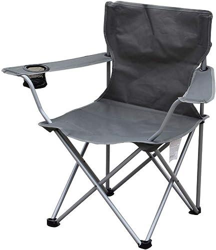 Lcxligang Chaises De Camping Léger Portable Chaise Pliante Ergonomique à Dossier Haut Pliant en Acier Accoudoir Rembourré avec Porte-Coupe