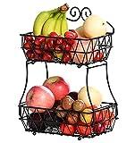 TQVAI 2-Tier Fruit Basket Bowl Screws Free Design Bread Storage Countertop Kitchen Display Stand, Black