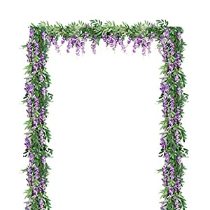 LESHABAYER 4Pcs 6Ft/Piece Artificial Flowers Fake Silk Wisteria Vine Bean Flower Rattan, Faux Flower Hanging Garland for Crafts Home Office Wedding Wall Party DIY Decoration (Purple)