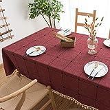 BH-JJSMGS Quadratische Gitter bestickte Tischdecke mit Fransen, einfarbige rechteckige Tischdecke aus Leinen CC 140 * 200 cm