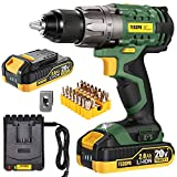 Cordless Drill, 20V Drill Driver 2x2000mAh Batteries, 530 In-lbs Torque, 24+1 Torque Setting, Fast Charger 2.0A, 2-Variable Speed, 33pcs Accessories, 1/2' Metal Keyless Chuck, TECCPO