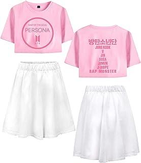 Landove BTS World Tour Tracksuit Two Piece Women Crop Top and Skirt Set A12618TXDQ